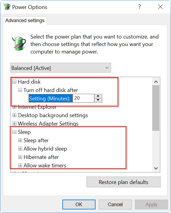 windows 10 power options - fix restart after sleep