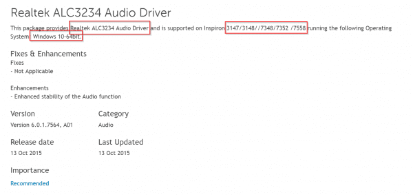 details of realtek audio driver for windows 10 and dell