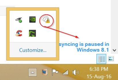 syncing is stopped in windows 8.1