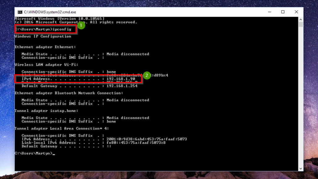 use ipconfig command to find ip address of remote host