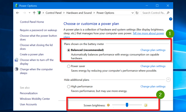 power plan setting to adjust brightness of monitor