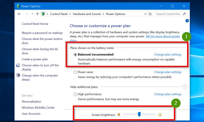 power plan setting to adjust brightness of monitor