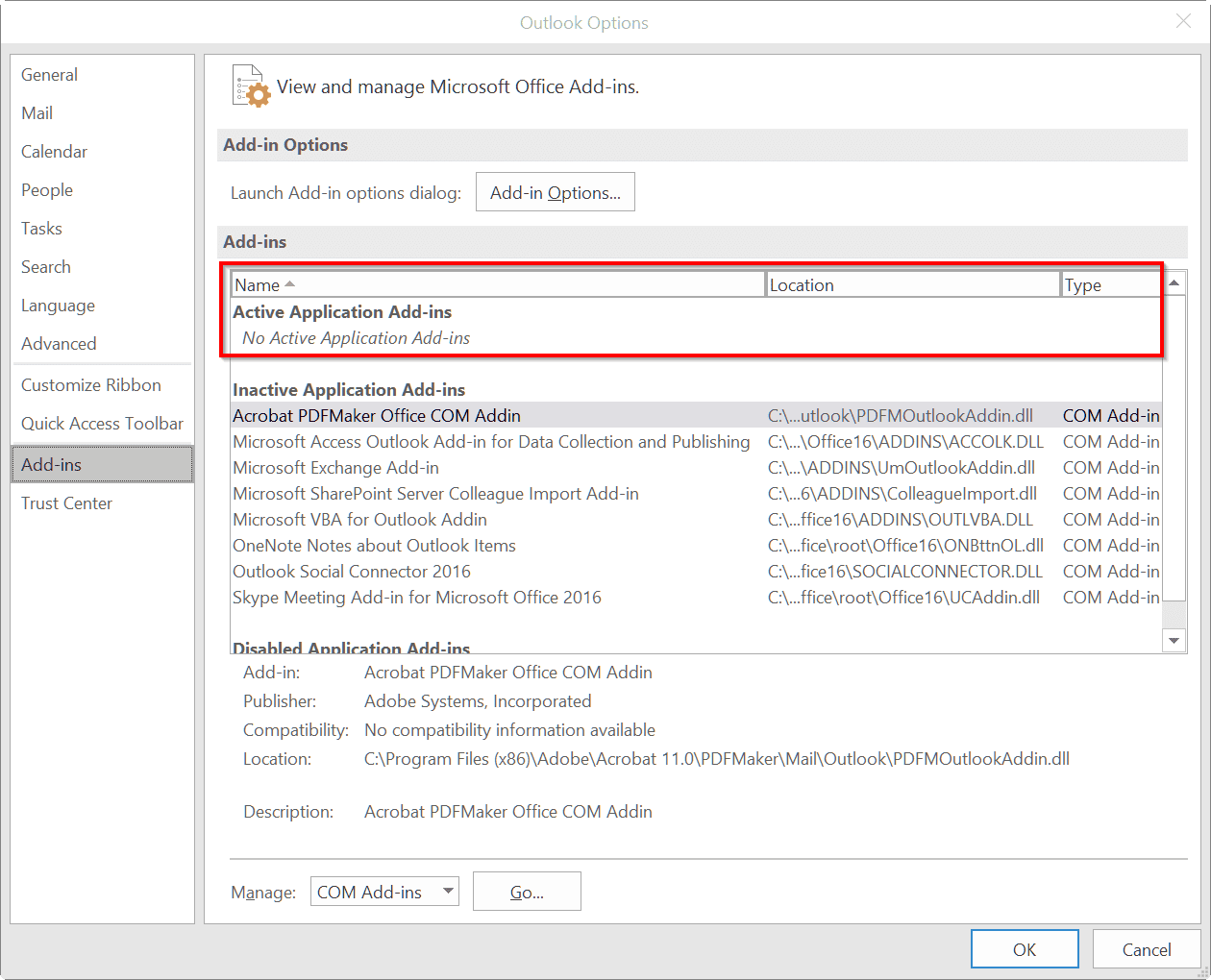 make all outlook 2016 add-ins inactive when crashing