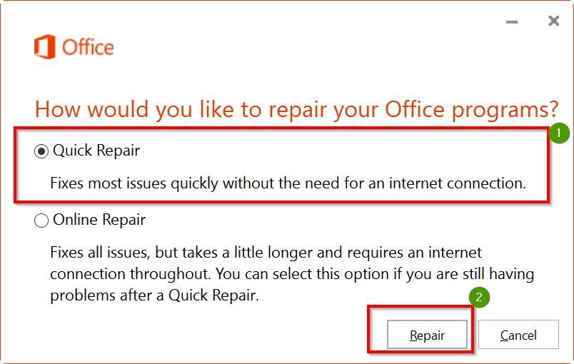 repair outlook 2016 installation files