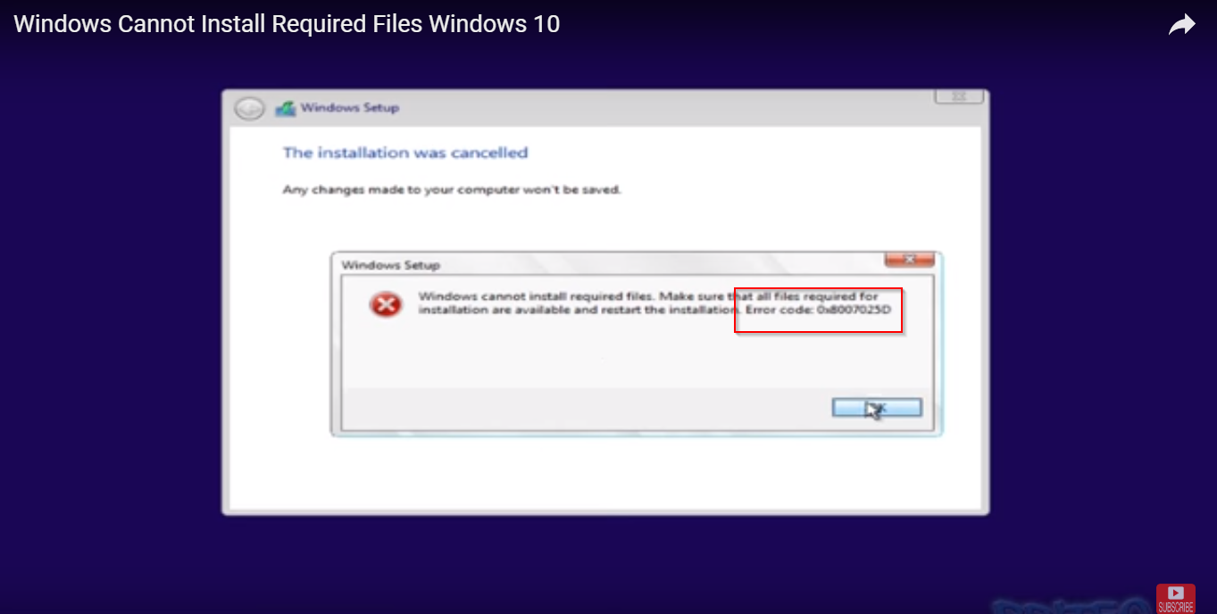 Solved] Fix Windows 10 or 8 1 or 7 Installation Error Code