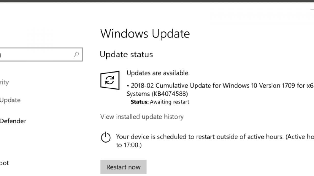 windows 1709 update error