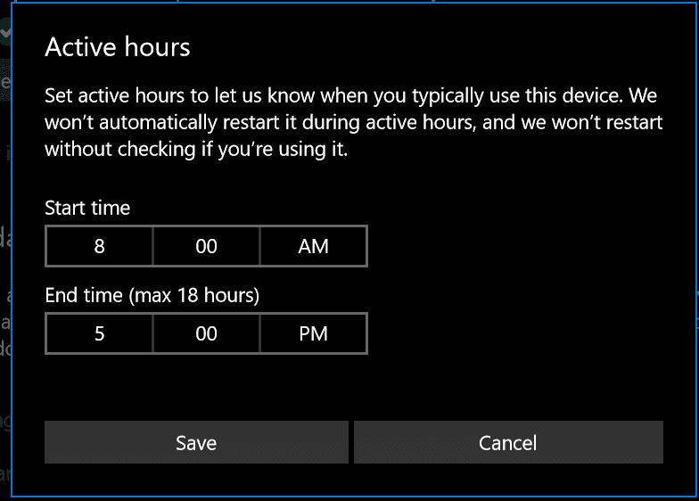 how to set different time for windows 10 updates