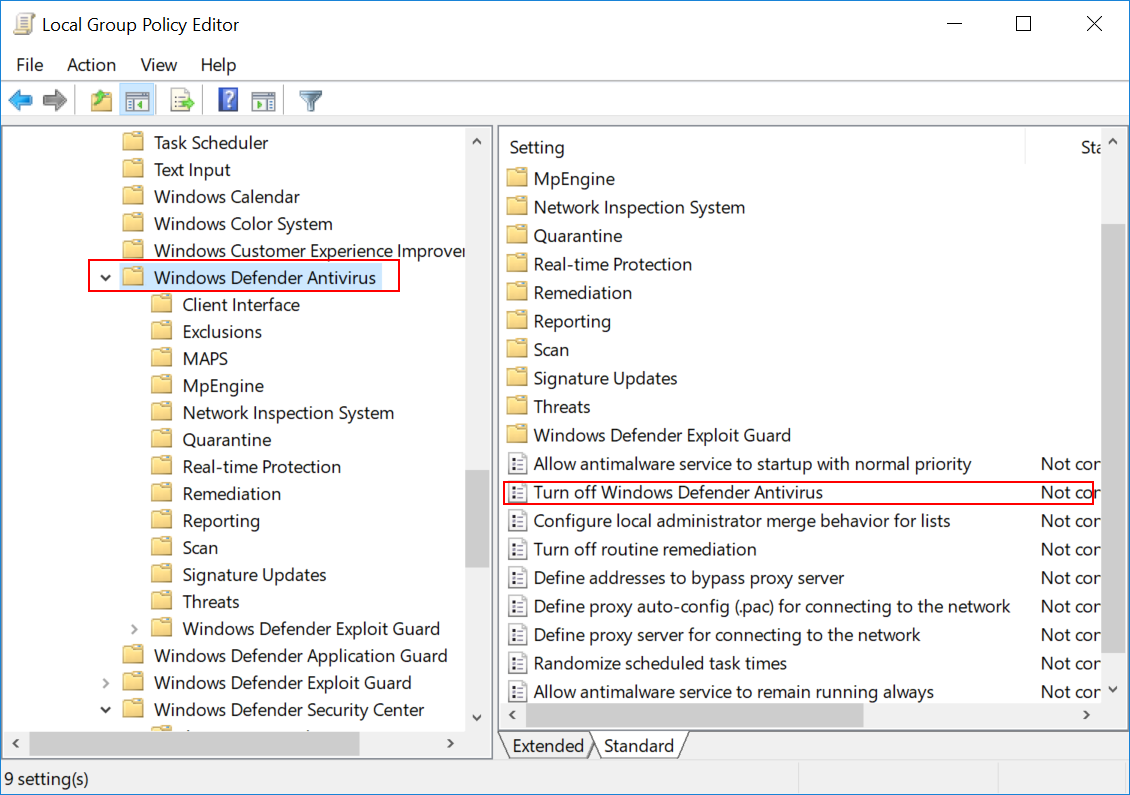 windows defender group policy off