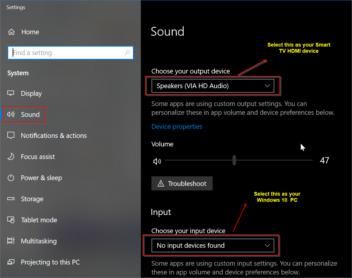 how to connect computer to a smart tv for sound