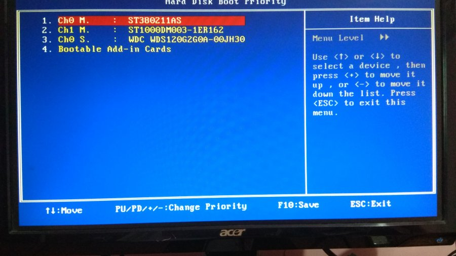 change hard disk priority to fix 0xc0000428