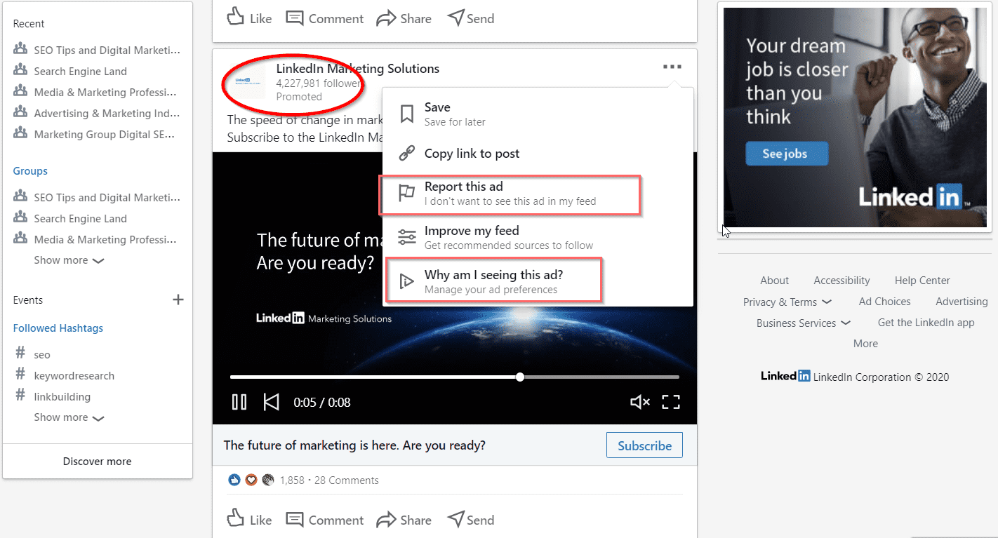 Manage LinkedIn Ad Preferences in your Feed in 2020 - Settings