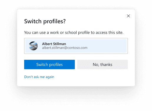 Switch to office profile or personal profile automatically using multiple profile preferences in edge 83 and higher version