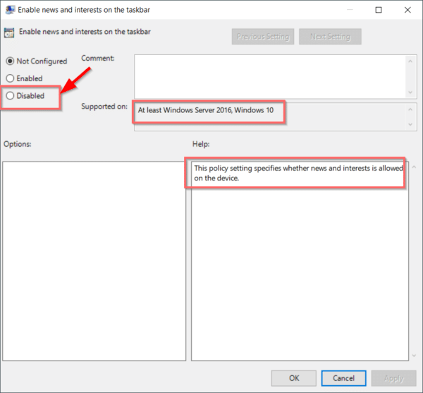 enable or disable news and interests using local group policy editor