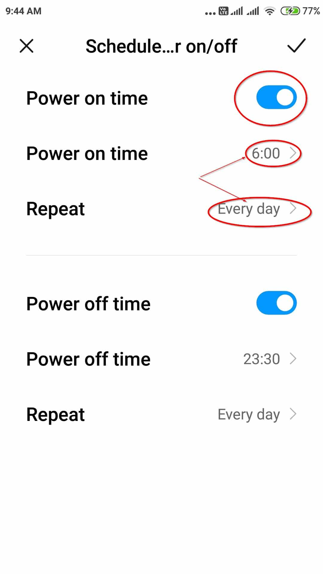 schedule automatic power on off redmi note 4