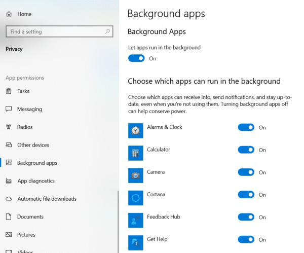 run background apps windows 10 spotlight