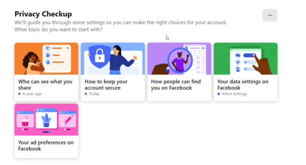 recommended settings of facebook privacy checkup