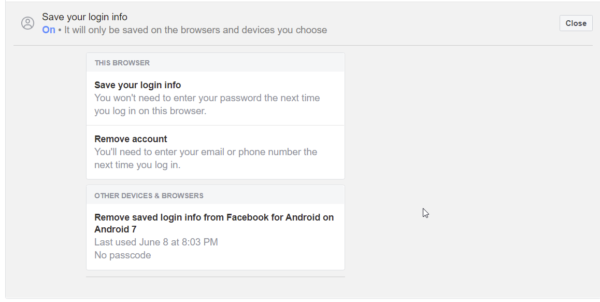 save and remove facebook login info from this browser and other devices