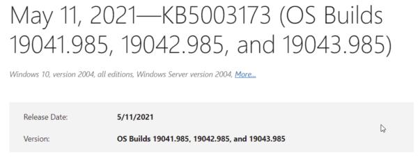 kb5003173 cumulative update