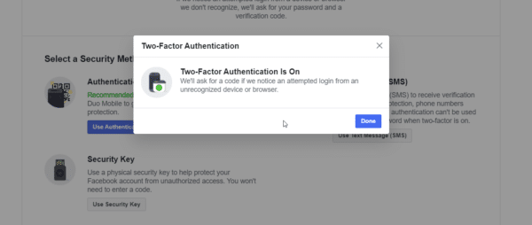 two factor authentication is turned on