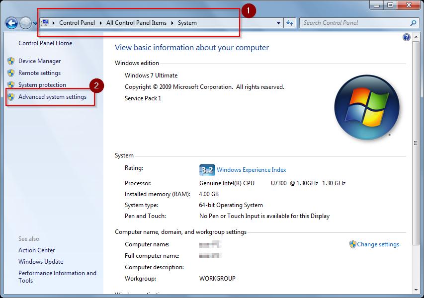 advanced system settings windows 7