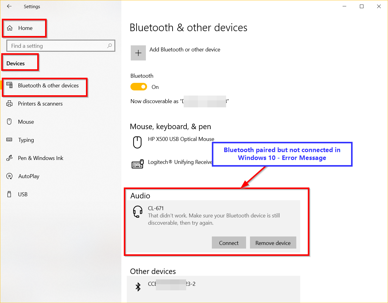 bluetooth device paired but not connected