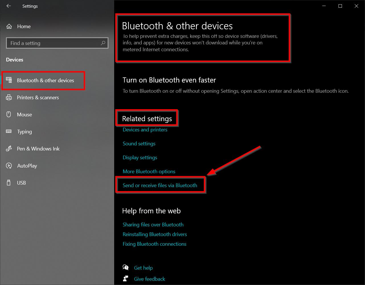 send or receive files via bluetooth windows 10