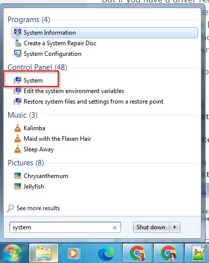 system control panel item windows 7