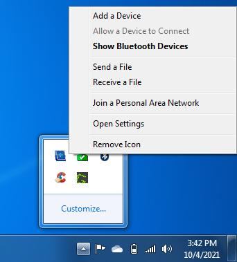 show bluetooth devices windows 7