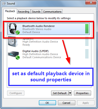 set bluetooth sound device as default