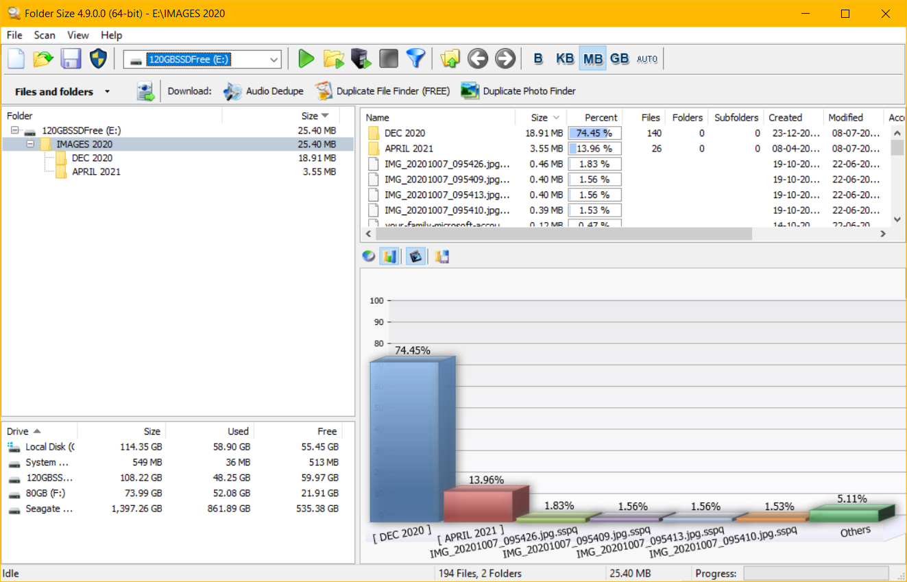 graph of folder space in percentage windows 10