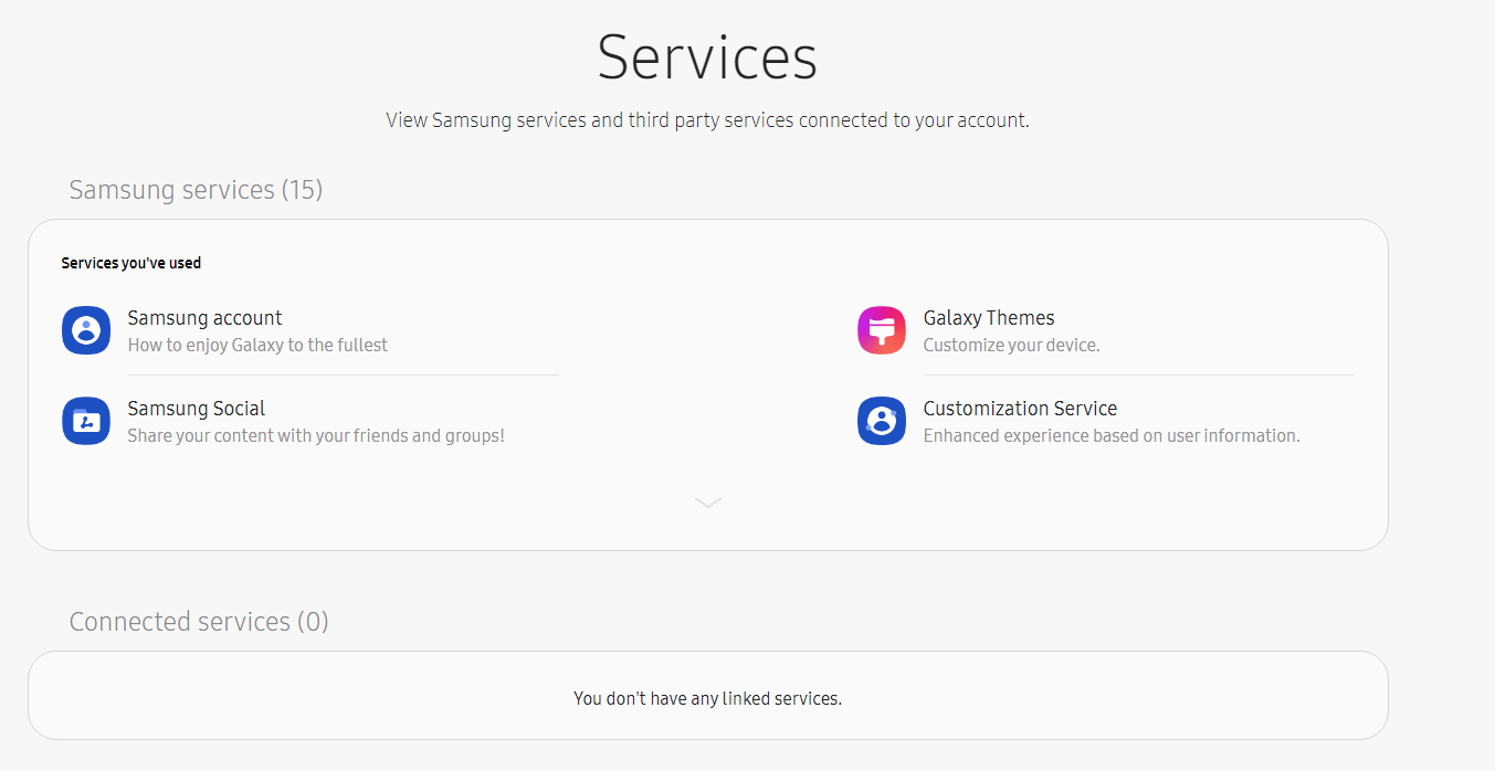 List of services connected to a Samsung account