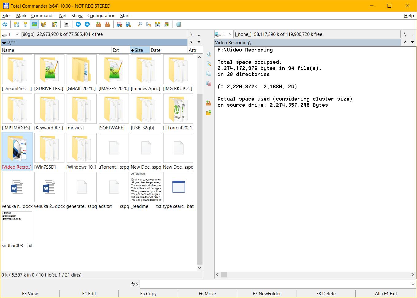 get folder size details windows 10